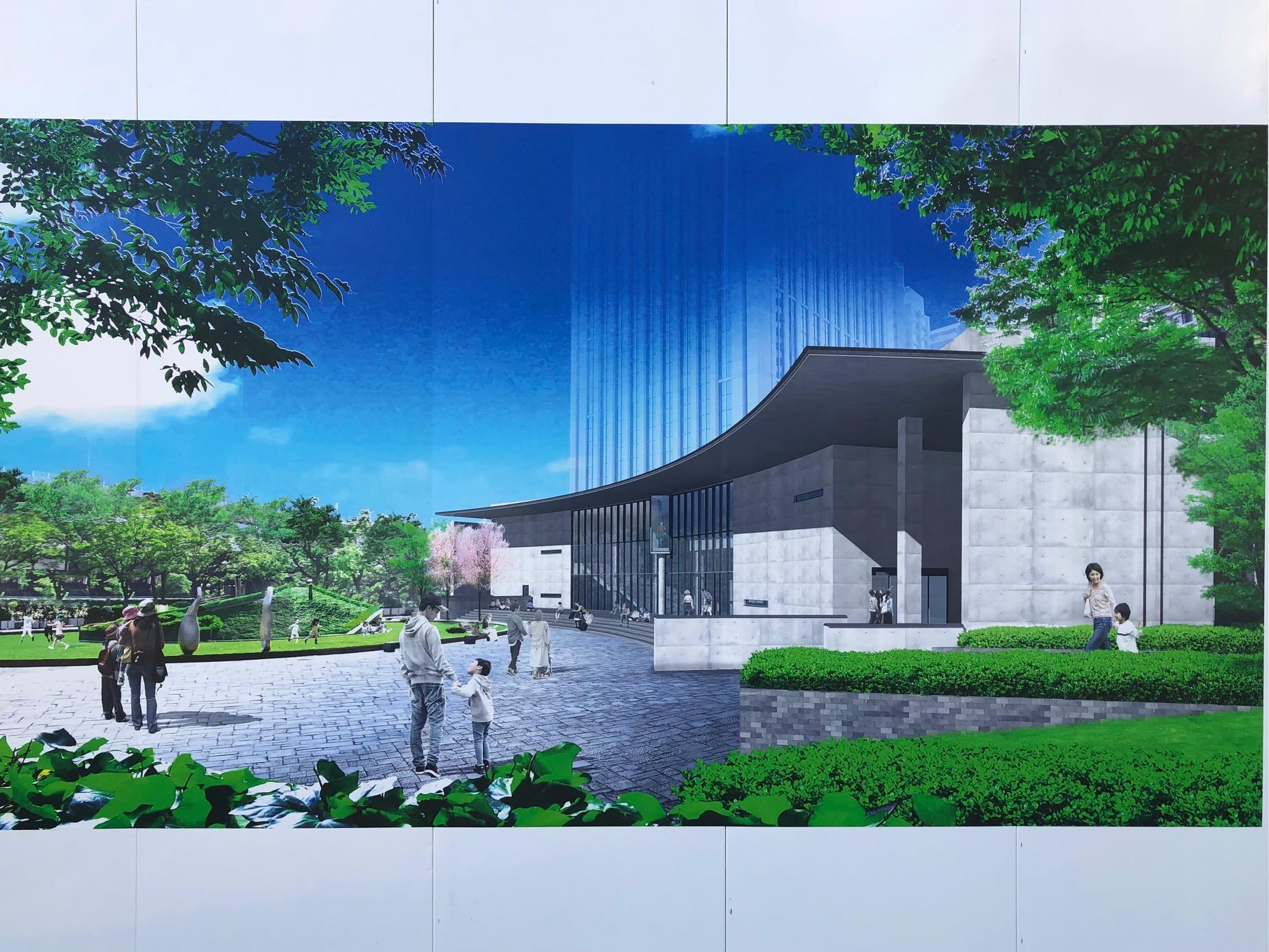 工事現場のパネルより、「こども本の森 神戸」のイメージ。2022年春にオープン予定。