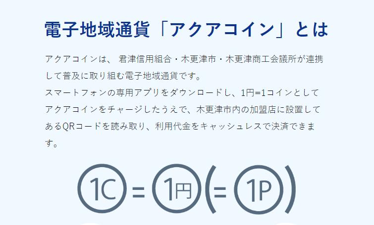 アクアコインの公式ホームページ。現在は利用限度額が大きく、コインの有効期間が長い、コインの送金機能などを備えた「アクアBank」(君津信用組合の口座が必要)を辻て利用することもできる。 出典:アクアコイン公式ホームページ