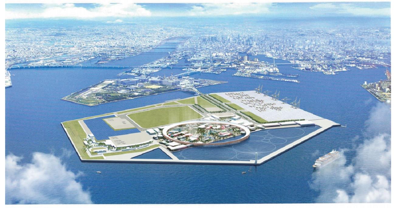 人工島・夢洲(大阪市此花区)に展開する万博会場の予想図。万博の基本計画から