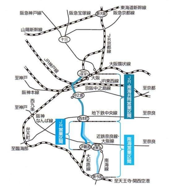 なにわ筋線の路線図。JR西日本のサイトから
