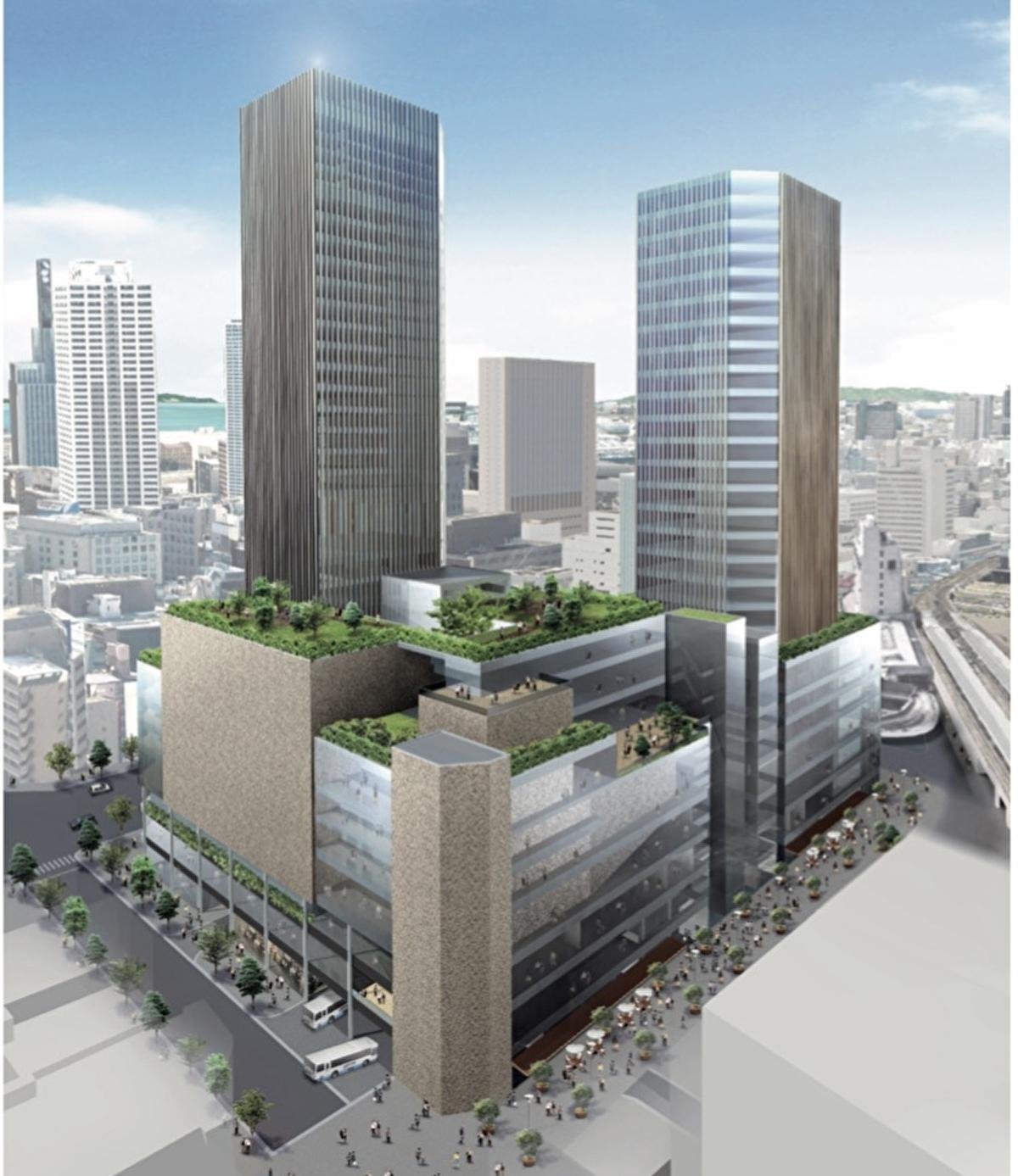 (出典:神戸市) 事業者グループが提案した複合施設を北東から見た完成イメージ。低・中層階はこれまでは分散されていたバス乗降場を集約した西日本最大規模のバスターミナルを核に、周囲を文化ホールやショッピング施設があてられる。タワー部分はオフィスやホテルから成る。