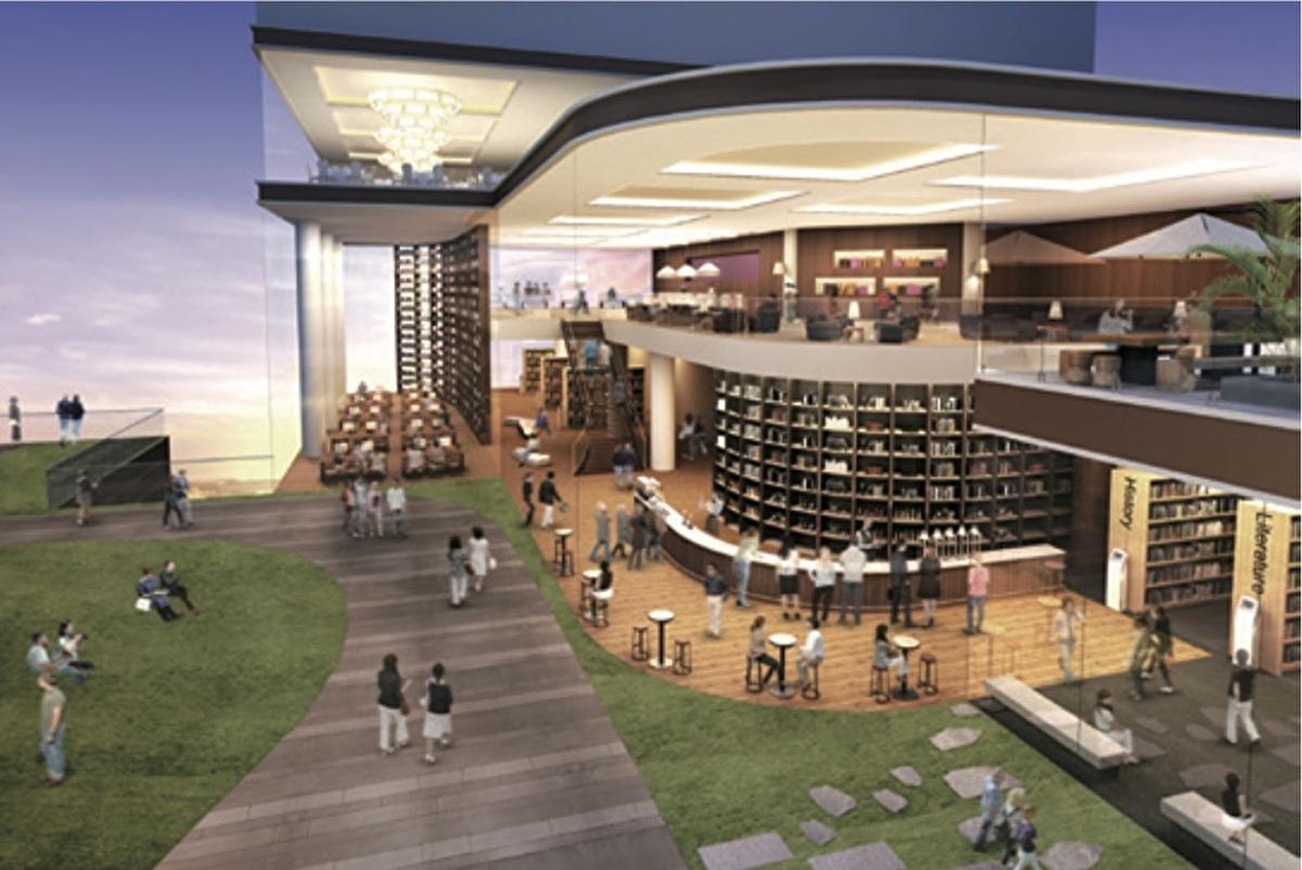(出典:神戸市) その屋上には緑化空間と夜まで利用できる図書館「スカイライブラリー」も。