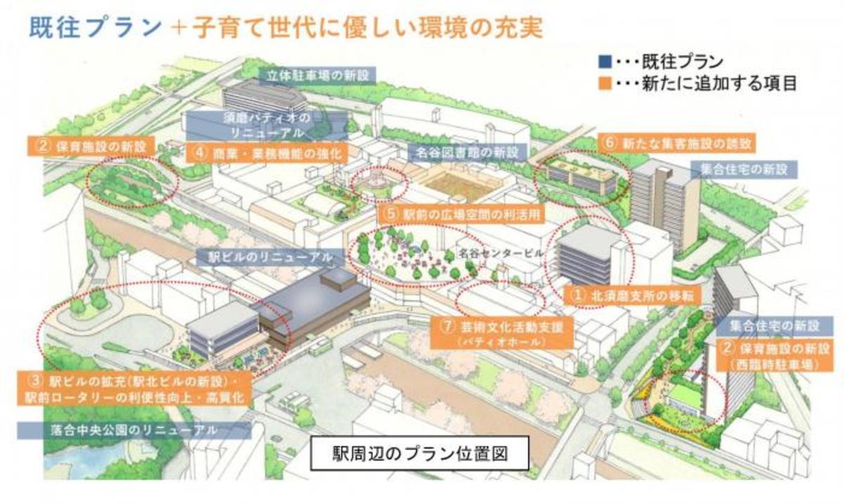 名谷駅周辺のリニューアル計画図(出典:神戸市)