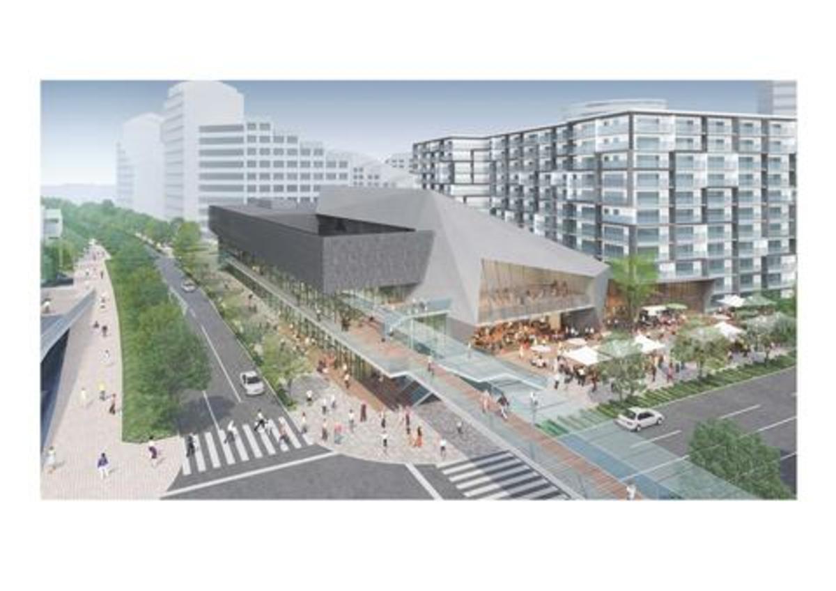 新築される文化・芸術ホールの完成イメージ。異彩を放つシンボリックな外観が特徴。(出典:神戸市)