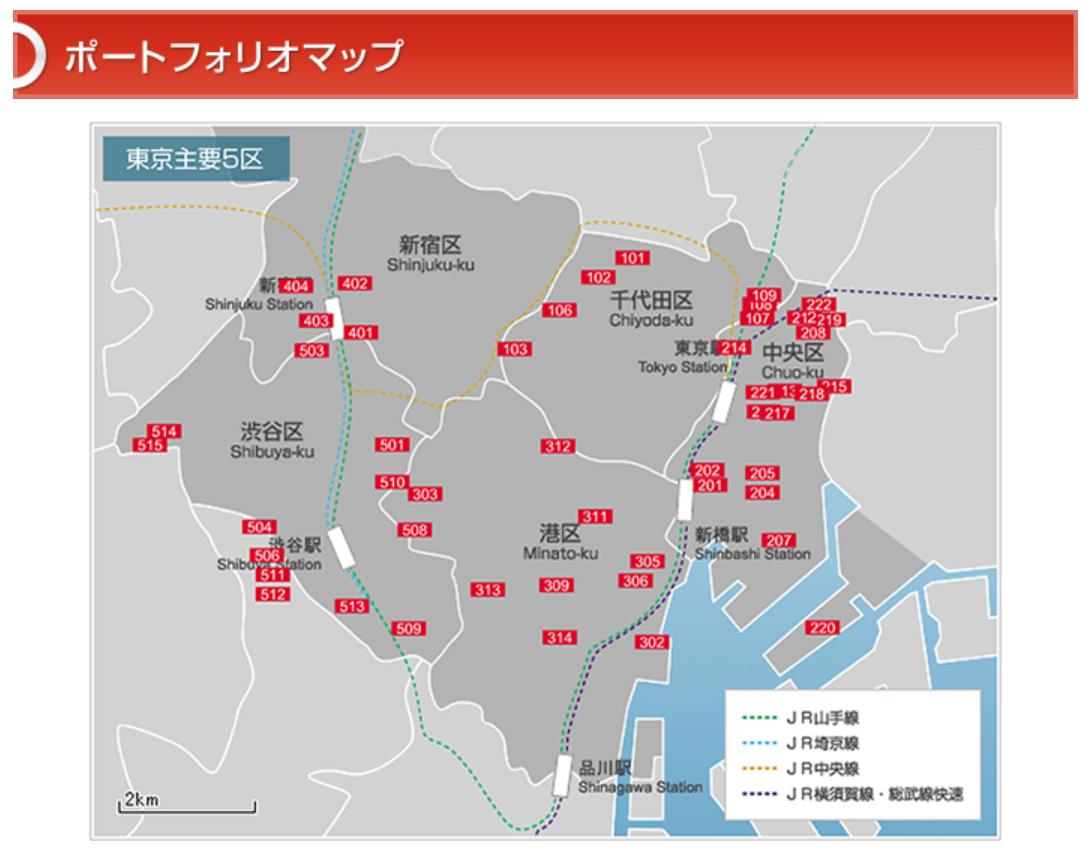 東京の「主要5区」(千代田区、中央区、港区、新宿区、渋谷区)のポートフォリオマップ。