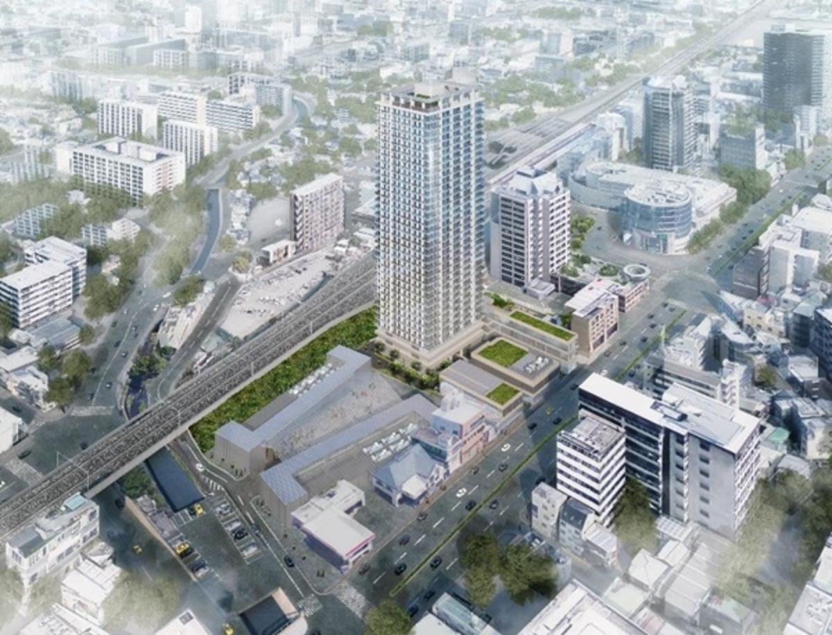 JR西宮駅南西地区の再開発の完成イメージ図。高さ約128mのタワーマンションは、西宮市内で最も高い建物に(出典:東急不動産プレスリリース)